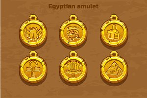 Set egyptian icons and textures