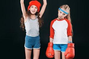 sportive girls in boxing gloves