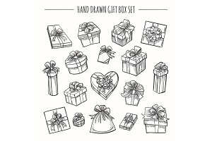 Sketch outline present boxes set