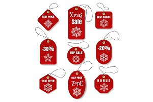 Red christmas holidays tags