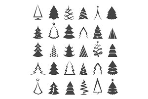Simple christmas tree icons