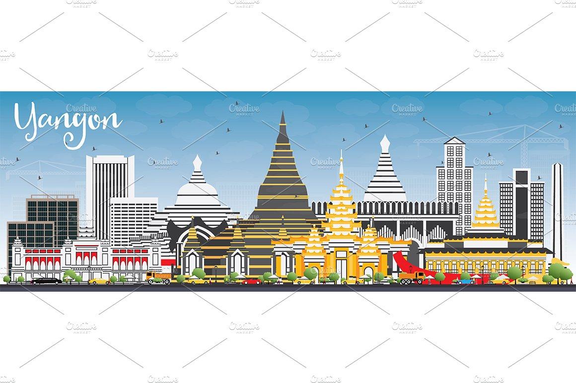 Yangon photos graphics fonts themes templates creative market yangon skyline stopboris Choice Image