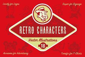 18 Retro Character Illustrations