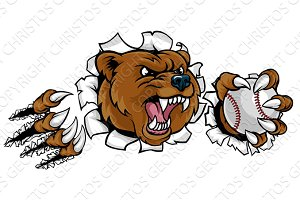 Bear Holding Baseball Ball Breaking Background