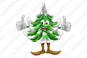 Christmas tree cartoon man