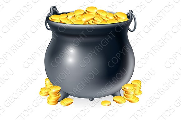 Cauldron full of gold coins