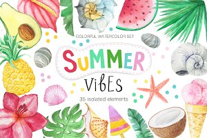 Watercolor Summer Vibes Set