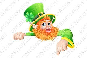 Leprechaun pointing down at sign