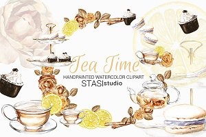 Tea Time Watercolor Clipart