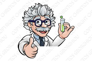 Cartoon Scientist Holding Test Tube Thumbs Up