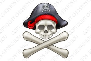Pirate Hat Cartoon Skull and Crossbones