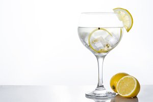 Glass of gin tonic with lemon