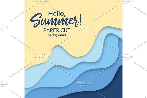Paper Art Cartoon Abstract Waves In Realistic Trendy Craft Style Modern Origami Design Template Concept Inspiration Or Idea For Your Projects Vector Illustration