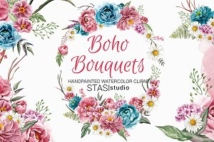 Boho Bouquets Watercolor Clipart