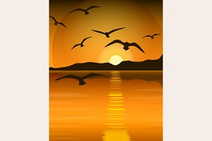 Bright yellow sunrise and sunset set