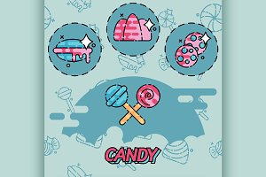 Candy flat concept icons