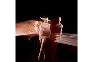 The sensual and emotional dance of beautiful ballerina