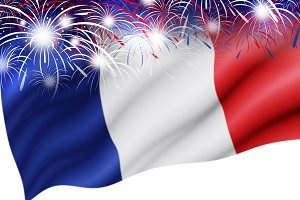France flag with firework background