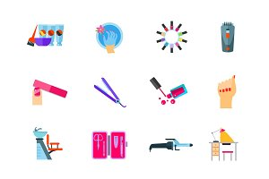 Beauty salon icon set