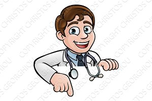 Doctor Cartoon Character Pointing