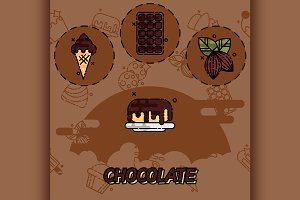Chocolate flat concept icons