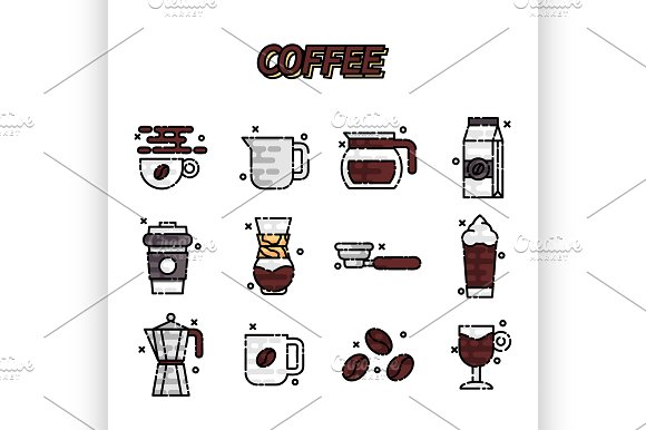 Coffee Cartoon Concept Icons