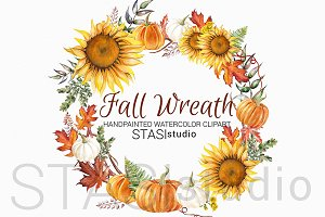 Sunflower Wreath Autumn Clipart