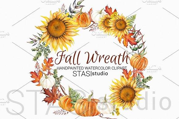 Sunflower Wreath Autumn Clipart