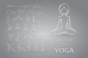 Glass yoga icons set