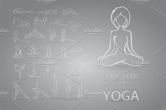 Glass yoga icons set