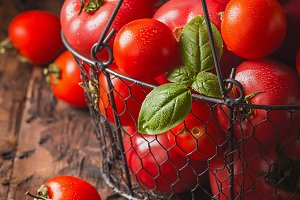 fresh tomatoes in a metal basket