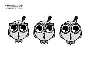 Big Eyed Cute Owl Vector Set