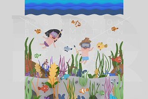 kids snorkeling under water