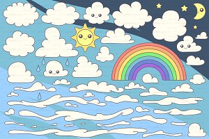 ♥ vector cartoon clouds SET