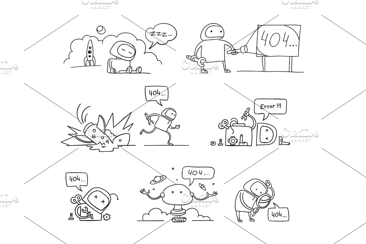hand drawn set 404 error page not found vector sketch Crash accident funny Cosmonaut running repairs