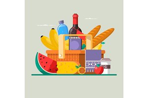 Summer picnic concept with basket full of products. Vector illustration