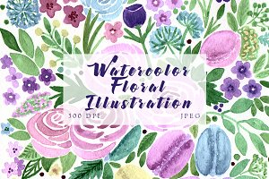 SALE! Watercolor flowers & macarons
