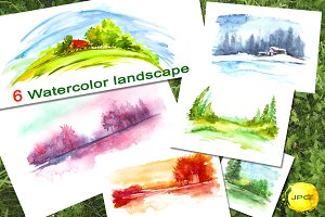 A set of watercolor landscapes.