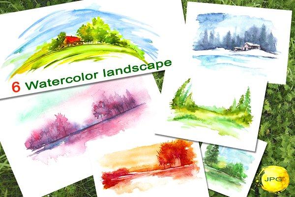 A set of watercolor landscapes.