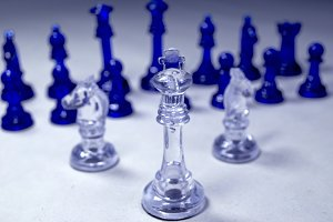 chess pieces isolate on white