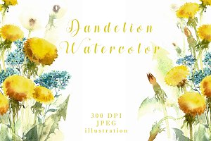 SALE Watercolor flowers of Dandelion