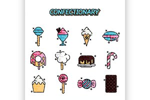 Confectionary cartoon concept icons