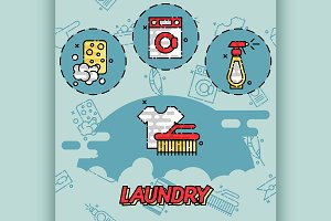 Laundry flat concept icons