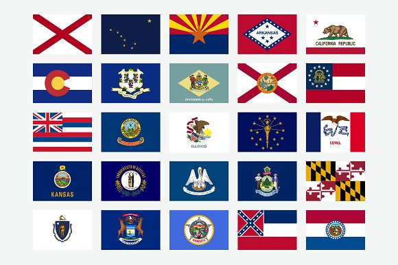 50 State Flags Of The USA