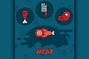 Meat flat concept icons