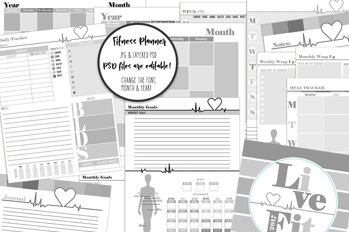 editable fitness planner templates illustrations creative market