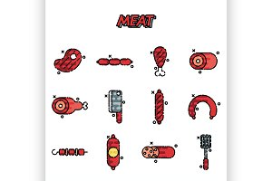 Meat cartoon concept icons