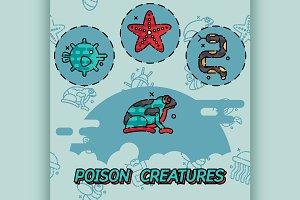 Poisonous creatures flat concept