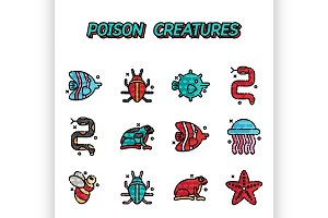 Poisonous creatures cartoon concept
