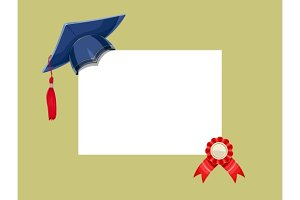 Blue academicic graduation cap with diploma medal